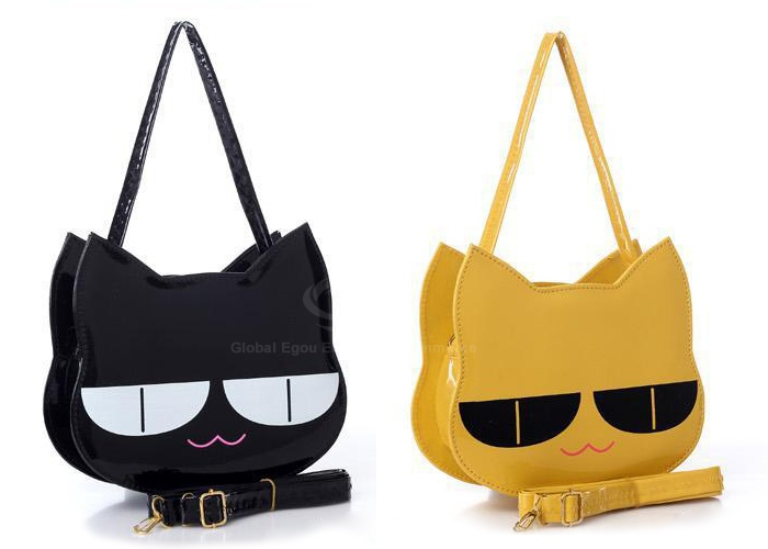Casual Cat and Patent Leather Design Women's Shoulder Bag