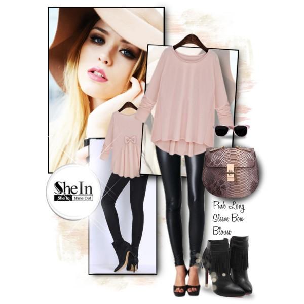 Pink Long Sleeve BowBlouse