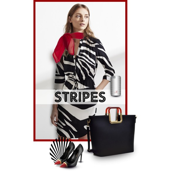 Black and White Stripes withRed